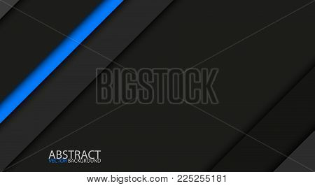 Black And Blue Modern Overlap Paper Layers With Free Space For Your Text, Material Design, Vector Ab