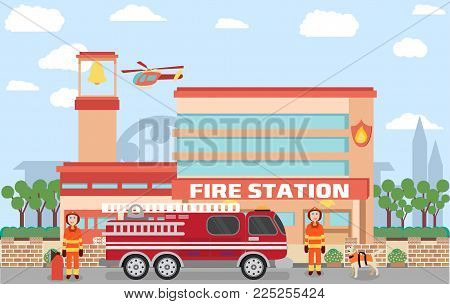 Fire station building in vector with urban background contains emergency vehicle and firefighters with dogs
