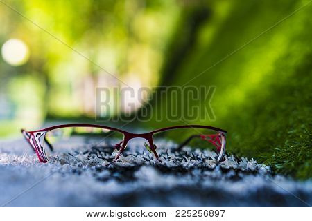 Glasses lie on the surface. Eyeglasses lie in a red frame on the lawn.