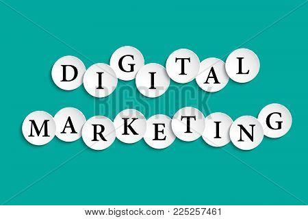 Digital Marketing Inscription Composed Of Paper Wheels With Shadow, Digital Marketing, Social Media
