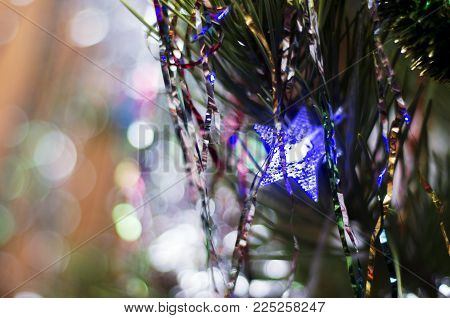 Christmas tree, decorations, fuzziness, background, blue star, fir,