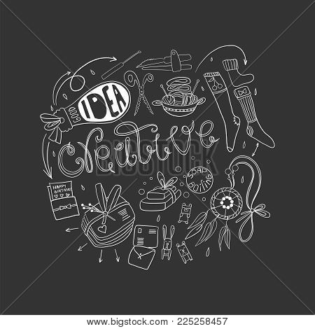 Be creative in hand-made. Doodle hand drawn elements. Logo for hand-made concept.