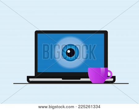 A Laptop Screen With An Eye.
