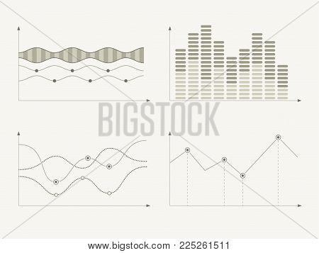 Set of different graphs and charts, information on charts, statistical data. Business charts and graphs infographic elements. Vector illustration.