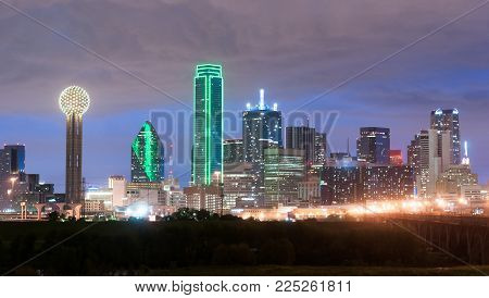 The unique lights and architectural design showcased here in Dallas Texas at dusk