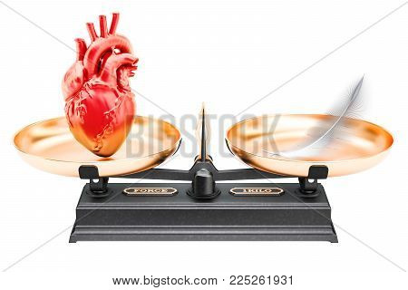Balance concept, scales with heart and feather. 3D rendering isolated on white background