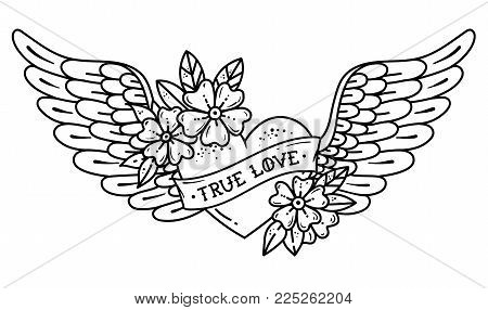 Hand drawn tattoo flying heart with wings. Tattoo heart with ribbon and flowers. Tattoo with phrase TRUE LOVE. Black and white illustration