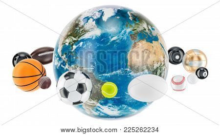 Earth Globe with sport balls around. 3D rendering isolated on white background