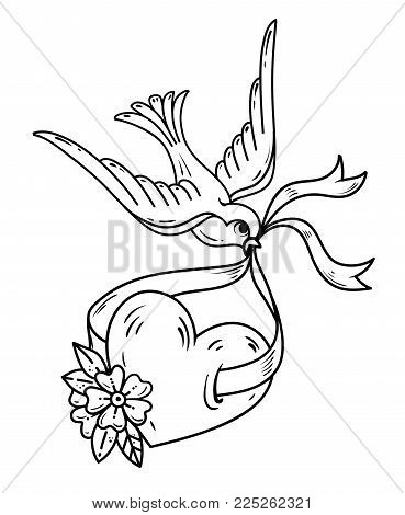 Swallow carries over heart on ribbon. Tattoo heart with flowers and bird. Symbol of luck. Old school style. Old school style. Black and white tattoo