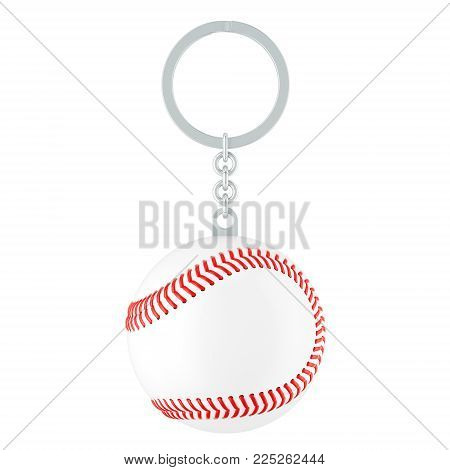 Keychain with baseball ball, 3D rendering isolated on white background