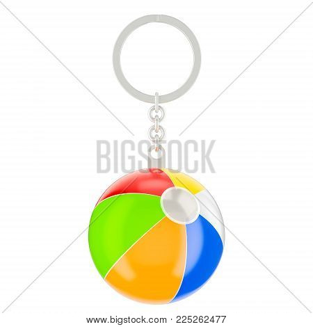 Keychain with beach ball, 3D rendering isolated on white background