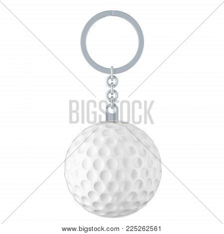 Keychain with golf ball, 3D rendering isolated on white background