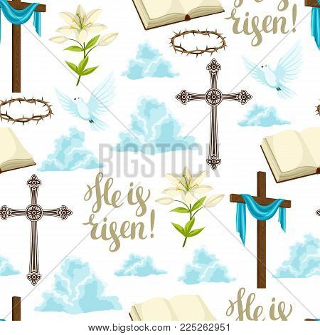 Happy Easter seamless pattern of decorative objects. Religious symbols of faith.