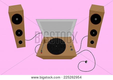 Old Turntable. Retro Vinyl. Loudspeakers  Vector Illustration