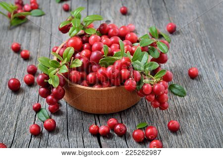Cowberry in wooden bowl on rustic surface, close up view