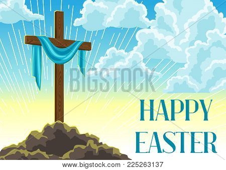 Silhouette of wooden cross with shroud. Happy Easter concept illustration or greeting card. Religious symbol of faith against cloudy sunrise sky.