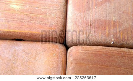 Texture bricks red wooden tile decoration macro photography