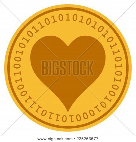 Hearts Suit golden digital coin icon. Vector style is a gold yellow flat coin cryptocurrency symbol.