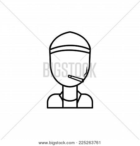 hooligan man smoking icon on white background