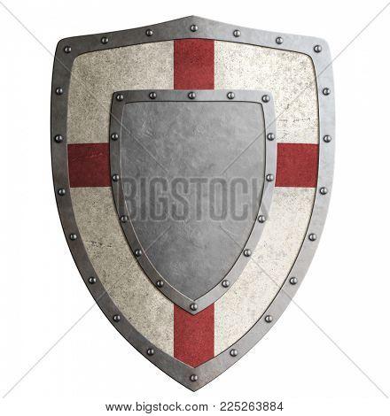 Ancient templar or crusader metal shield 3d illustration