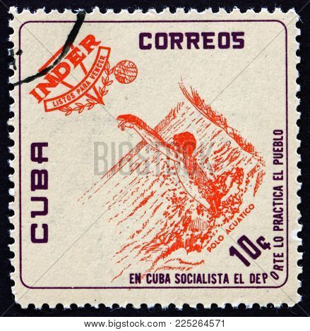 Cuba - Circa 1962: A Stamp Printed In Cuba Shows Water Polo, National Sports Institute Emblem And At