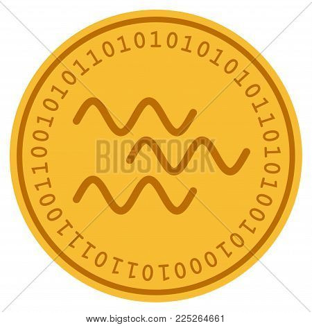 Waves golden digital coin icon. Vector style is a gold yellow flat coin cryptocurrency symbol.