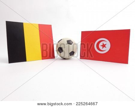 Belgian and Tunisian flag with football ball isloated on white background