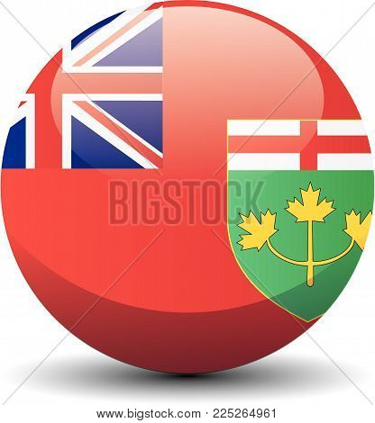 Ontario national circle button flag background texture. Vector illustration.