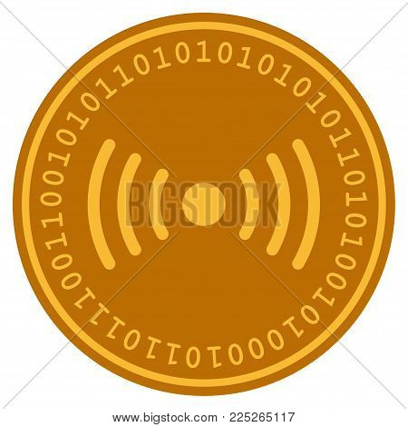 Wi-Fi Point golden digital coin icon. Vector style is a gold yellow flat coin cryptocurrency symbol.