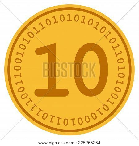 Ten golden digital coin icon. Vector style is a gold yellow flat coin cryptocurrency symbol.