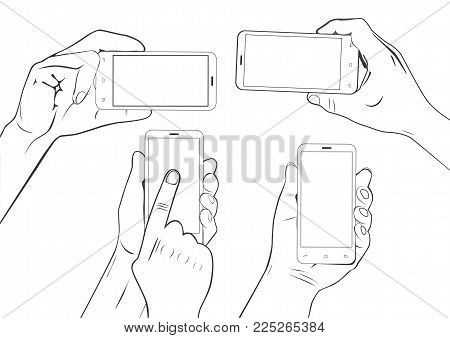 Hand gestures holding smartphone touchscreen sketch set isolated on white