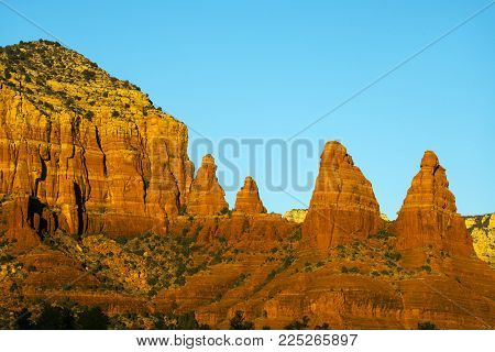 Late afternoon image of the nuns rock formations near Sedona, Arizona