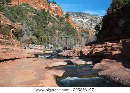 Winter image of Oak Creek at Rock Slide State Park in the Coconino National Forest near Sdeona, Arizona