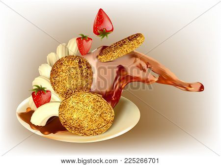 pancakes with syrup and strawberry on a plate