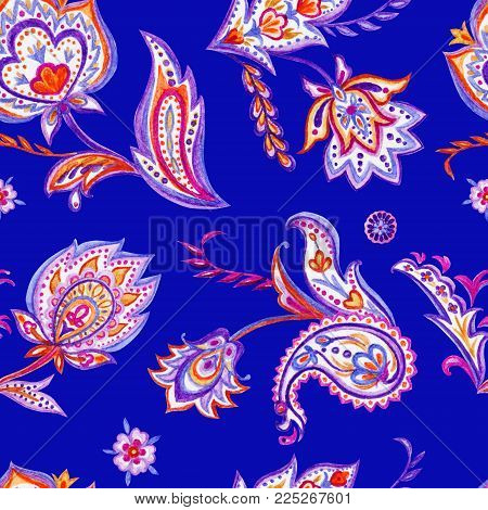 Seamless paisley pattern on a blue background, hand drawing.