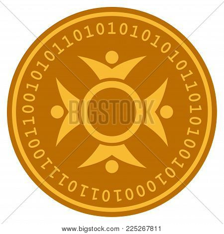 Human Collaboration golden digital coin icon. Vector style is a gold yellow flat coin cryptocurrency symbol.
