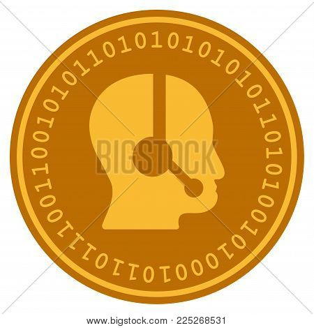 Call Center Operator golden digital coin icon. Vector style is a gold yellow flat coin cryptocurrency symbol.