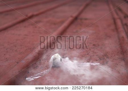 The Small Smoke Bombs With White Smoke
