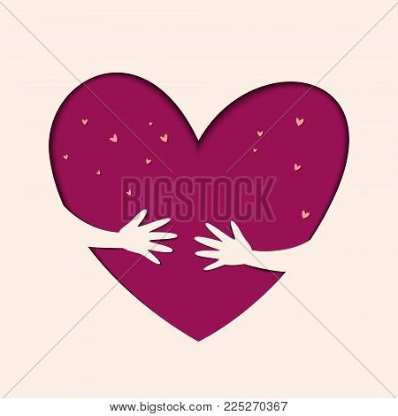 Hands hold love. Save love. Illustration of love and valentine day. Love and Heart Care logo.