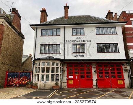 LONDON - FEBRUARY 5, 2018: Fire station in West Hampstead, London, UK.