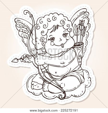 Angel or cupid for holidays Valentine's Day in hand drawn style.The angel sits on a cloud with an arrow and onion in the hands. Vector template for stickers, wedding invitation, card, background.