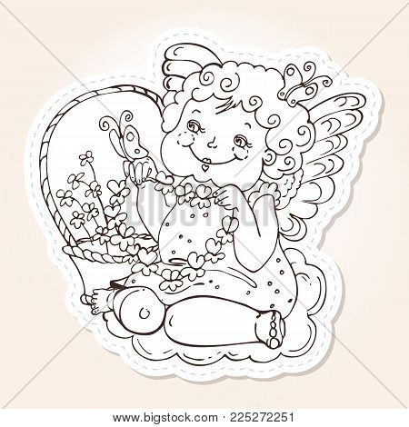 Angel for holidays Valentine's Day in sketch style. Angel with butterflies and with a wreath in his hands sits on a cloud beside a basket with flowers.Vector template for stickers, wedding invitation,
