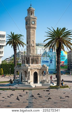 Izmir, Turkey - October 04, 2014: Izmir Clock Tower, Iconic Historic Town Landmark. Saat Kulesi