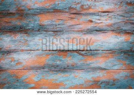 Wooden background with peeling paint, copy space