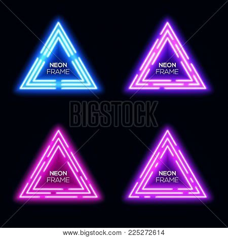 Blue violet purple pink neon light triangles set. Shining techno frame collection. Night club 3d banners on dark blue backdrop. Neon abstract tech background with glow. Technology vector illustration.