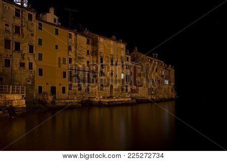 Old Town Rovinj Sleep In Winter Night