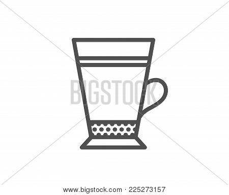 Latte coffee icon. Hot drink sign. Beverage symbol. Quality design element. Editable stroke. Vector