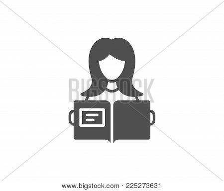 Woman read a Book simple icon. Education symbol. Instruction or E-learning sign. Quality design elements. Classic style. Vector