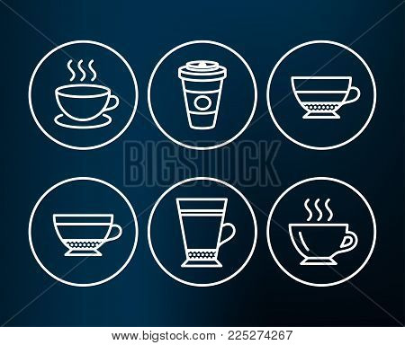 Set of Latte, Dry cappuccino and Takeaway coffee icons. Cappuccino, Americano and Coffee signs. Beverage mug, Hot latte drink, Espresso cup. Beverage cup.  Editable stroke. Vector