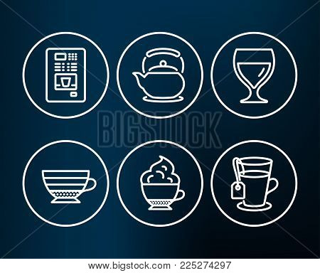 Set of Cappuccino cream, Coffee vending and Cappuccino icons. Teapot, Wine glass and Tea signs. Coffee with whipped cream, Tea kettle, Cabernet wineglass. Glass mug.  Editable stroke. Vector